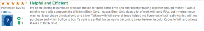 birch gold trustlink customer review 1